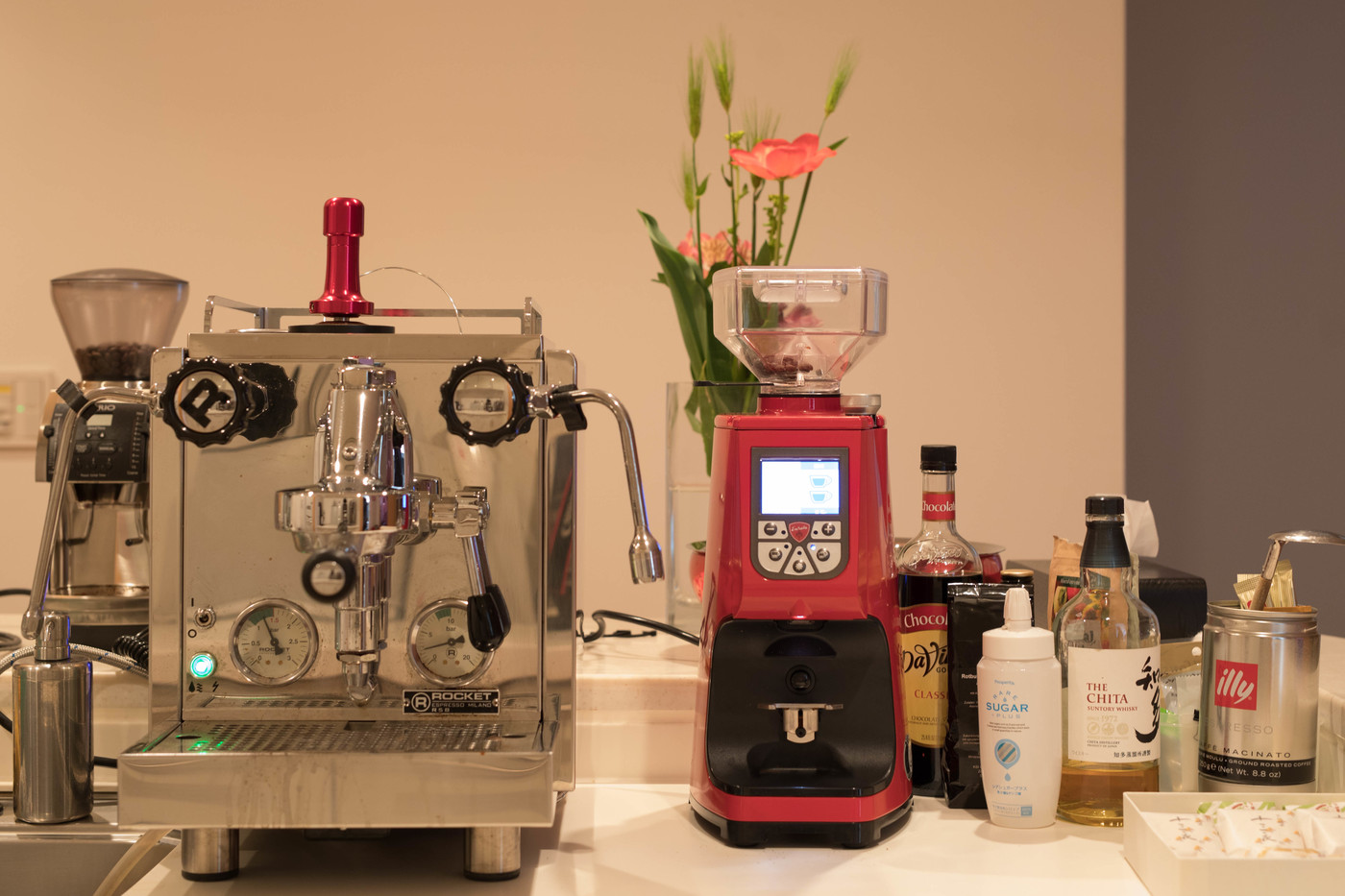 The espresso machine and grinders